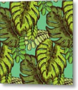 Tropical Leaves Pattern Metal Print