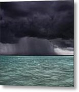 Tropical Storm Approaches Boat Metal Print