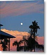 Tropical Sunset With The Moon Rise Metal Print