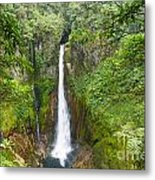 Tropical Waterfall In Volcanic Crater Metal Print