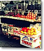 Vintage Outdoor Fruit And Vegetable Stand - Markets Of New York City Metal Print