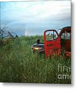 Truck And Rainbow Metal Print