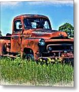Truck In The Grass Metal Print