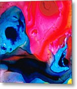 True Colors - Vibrant Pink And Blue Painting Art Metal Print