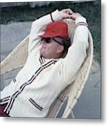 Truman Capote Leaning Back In A Chair Metal Print