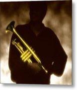 Man Holding Trumpet 1 Metal Print