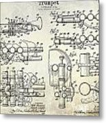 Trumpet Patent Drawing Metal Print