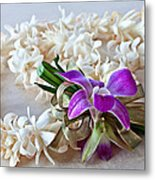 Tuberose Lei With Purple Orchid And Ribbon Metal Print