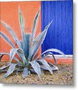 Tucson Barrio Blue Door Painterly Effect Metal Print
