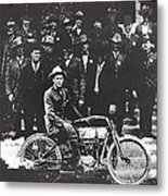 Tucson Police Department  On Steps Of City Hall With 1st Police Motorcycle C. 1917 Tucson Arizona Metal Print