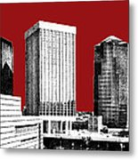 Tucson Skyline 1 - Dark Red Metal Print