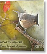 Tuffted Titmouse With Verse Metal Print