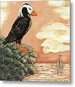 Tufted Puffin At Dusk Metal Print