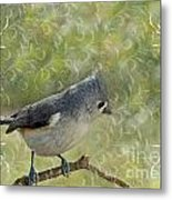 Tufted Titmouse With Decorations Metal Print