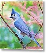 Tufted Titmouse With Spring Booms - Digital Paint II Metal Print