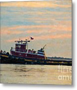 Tug Boat Hard At Work Metal Print