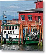 Tug Boat Pilot Docked On Waterfront Art Prints Metal Print