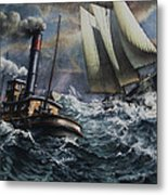Tugboat And Lumber Schooner In Storm Metal Print