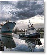 Tugboat Pulling A Cargo Ship Metal Print