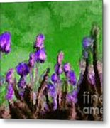 Tulips Abound Green Purple Metal Print