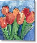 Tulips After The Rain Metal Print