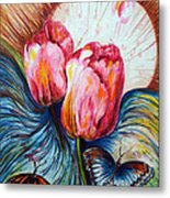Tulips And Butterflies Metal Print