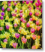 Tulips And Daffodils Metal Print by Jill Balsam