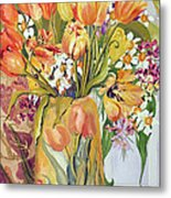 Tulips And Narcissi In An Art Nouveau Vase Metal Print by Joan Thewsey