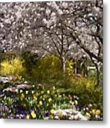 Tulips And Other Spring Flowers At Dallas Arboretum Metal Print
