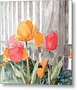 Tulips From Williamsburg Watercolor Painting Metal Print