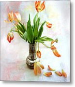 Tulips In An Old Silver Pitcher Metal Print