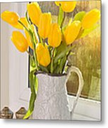 Tulips In Antique Jug Metal Print