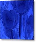Tulips In Cobalt Blue Metal Print