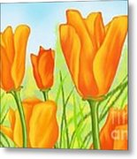 Tulips In Grass Metal Print