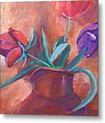 Tulips In Pitcher Metal Print