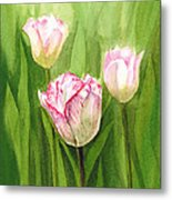 Tulips In The Fog Metal Print