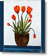 Tulips On A Blue Buffet With Borders Metal Print by Barbara Griffin