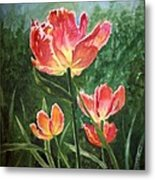 Tulips On Fire Metal Print