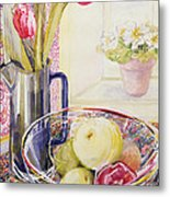 Tulips With Fruit In A Glass Bowl  Metal Print by Joan Thewsey