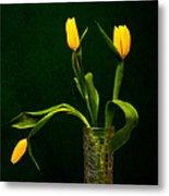 Tulips - Yellow On Green Metal Print