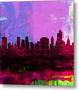 Tulsa Watercolor Skyline 2 Metal Print