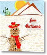 Arizona Tumbleweed Snowman Metal Print