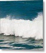 Turbulent Water Of Breaking Ocean Wave And Spray Metal Print