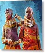 Young Turkana Girls Metal Print