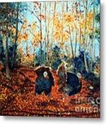 Turkey Dance On The Pond Road Metal Print