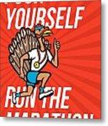 Turkey Run Marathon Runner Poster Metal Print