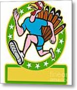 Turkey Run Runner Side Cartoon Metal Print by Aloysius Patrimonio