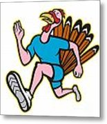 Turkey Run Runner Side Cartoon Isolated Metal Print by Aloysius Patrimonio