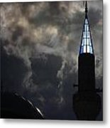 Turkish Mosque At Dusk With Sunlight Behind Turret Metal Print