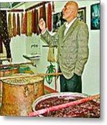 Turkish Rug Salesman Explains About Natural Dye Vats In Weaving Factory In Avanos-turkey  Metal Print